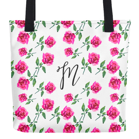 Pink Watercolor Roses Monogram Tote Bag