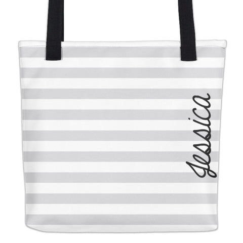 Striped Silver, Black & White Personalized Name Tote Bag