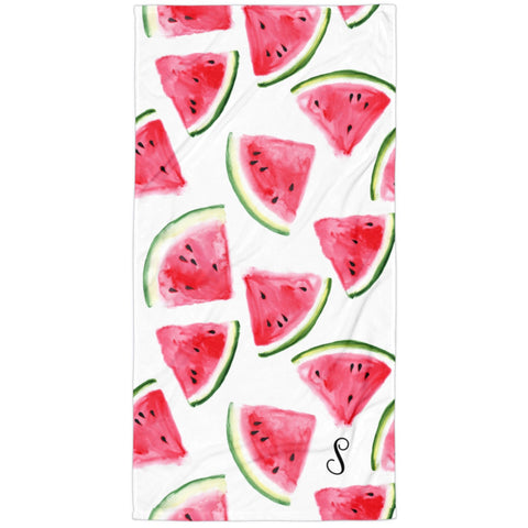 Watercolor Watermelon Monogram Beach Towel