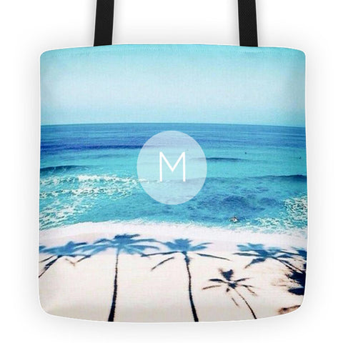 Nautical Ocean Beach Palm Tree Monogram Tote Bag