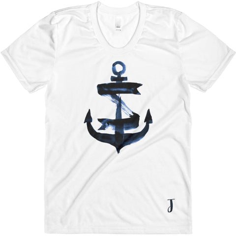 Nautical Navy Blue Watercolor Anchor Women's Monogram Scoopneck T-Shirt