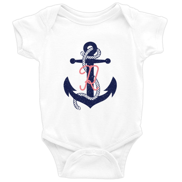 Baby Girl Nautical Anchor Navy Blue Coral Monogram Onesie