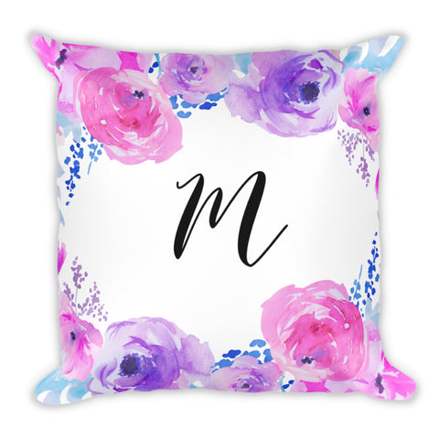 Watercolor Peonies Purple Pink Floral Monogram Throw Pillow