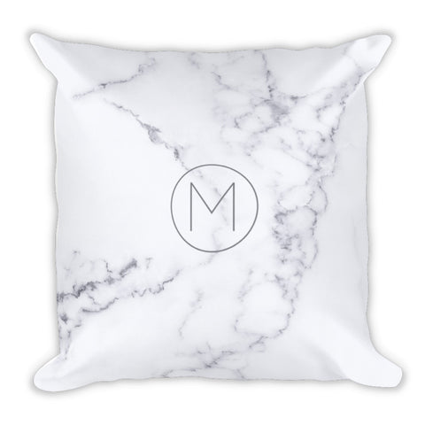 White Marble Modern Minimalist Monogram Throw Pillow