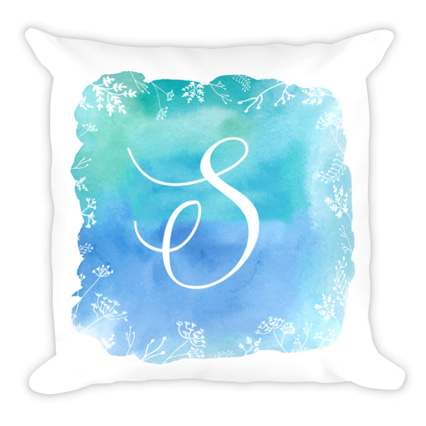 Watercolor Floral Spring Summer Monogram Square 18x18 Throw Pillow w/ Insert