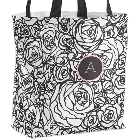 Black White Floral Monogram All-Over-Print Tote Bag