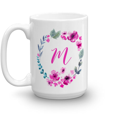 Pink Turquoise Watercolor Floral Wreath Monogram Mug