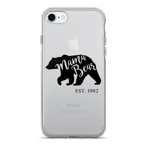 Mama Bear (est personalized year) Clear iPhone 7 Plus Case