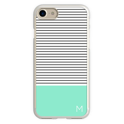 Mint Black Striped Modern Minimalist Monogram iPhone Case