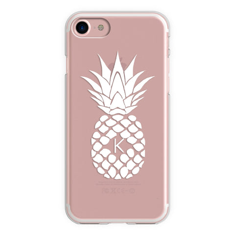 White Pineapple Monogram iPhone Case