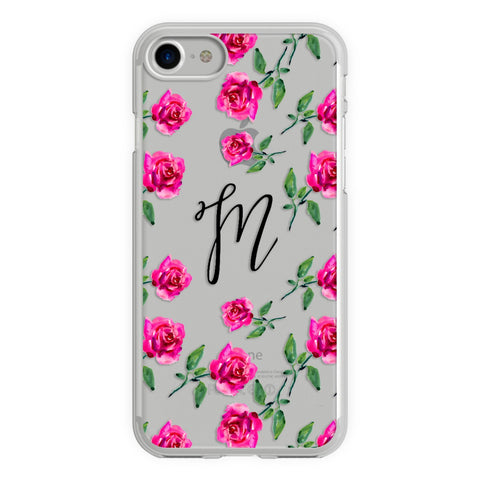 Pink Watercolor Roses Monogram iPhone 7 / 7s Case