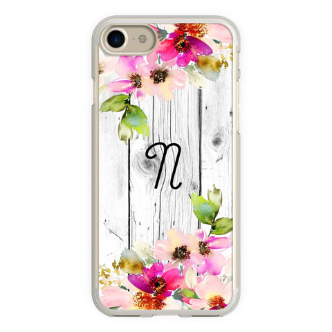 Rustic Wood Fence Watercolor Flowers Monogram iPhone Case