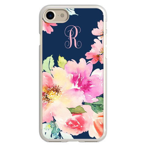 Watercolor Floral Vine Monogram iPhone Case