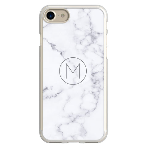 White Marble Minimalist Monogram iPhone Case