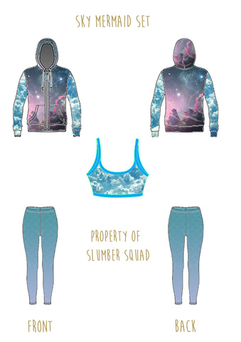 slumber squad pastel mermaid cloud set