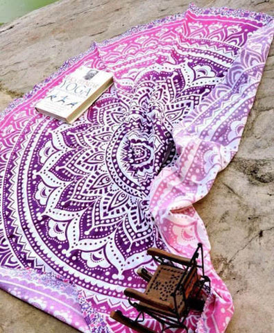 Yoga Mat, Wall Hanging, Hippie, Round Beach Blanket, Blue, Mandala, Geometric Print, Roundie, Picnic Blanket, Online Shopping, Pastel, Boho, Bohemian, Tapestry, Decor, Interior, Pink, Purple