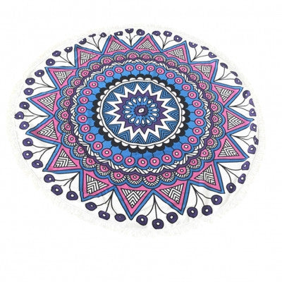 Round Beach Towel, Blue, Mandala, Geometric Print, Roundie, Fashion Towel, Picnic Blanket, Online Shopping
