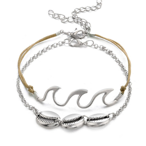 Beach Wave Stacked Anklet