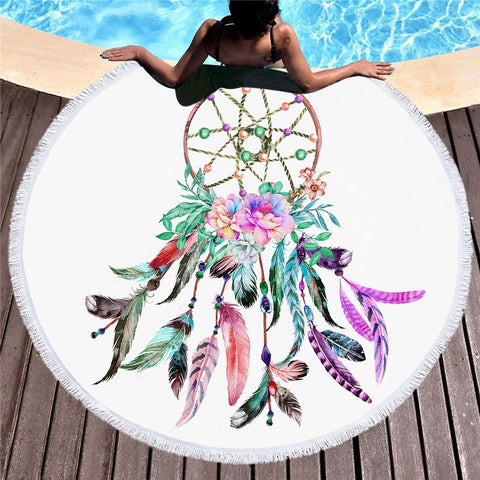 Floral Dream Catcher Beach Towel
