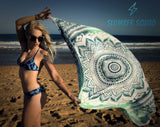 Teeny Tiny Tan Skimpy Bikini Blue Swimwear Tanning Beach Fashion Print