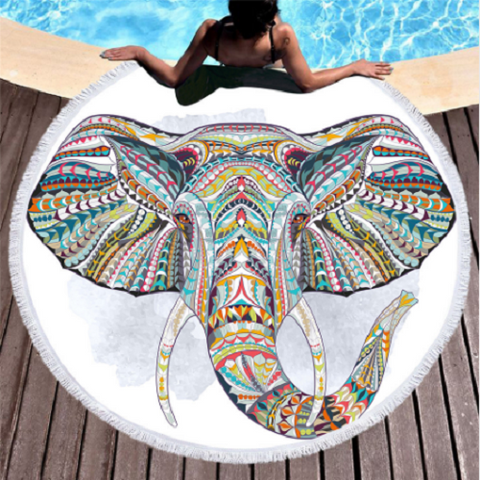 Elephant Kaleidoscope Round Beach Towel