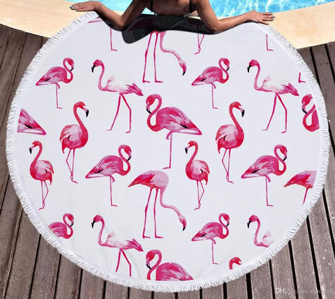 Flamingo Pack Round Beach Towel