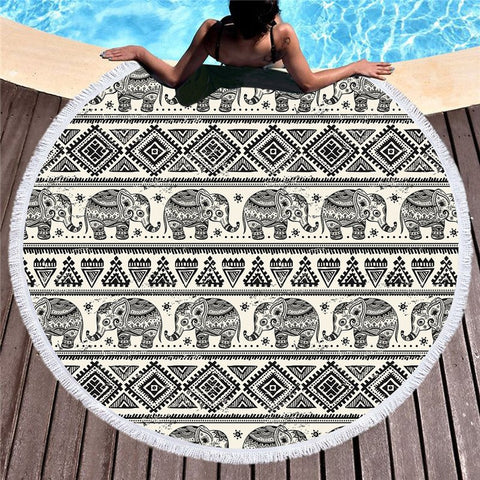 Mono Tribal Elephant Beach Towel