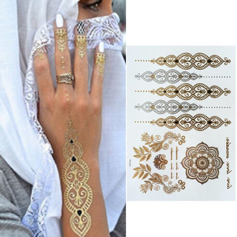 Festival Metallic Gold Tattoo Set x 3