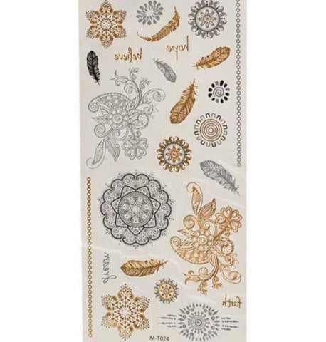 Boho Babe Metallic Tattoo Sheet