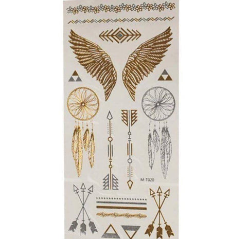 Festival Tribe Metallic Gold Tattoo Sheet