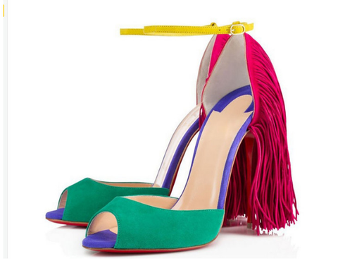 ankle strap rainbow tassel high heel spring summer footwear shoe