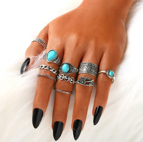 Boho Turquoise 10 Piece Ring Set