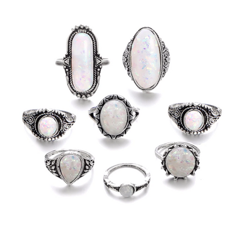 Boho Opal  8 Piece Ring Set