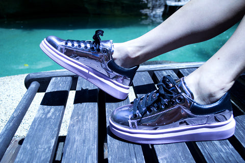 shoes, sneakers, metallic sneakers, vegan footwear, runners, exercise shoes