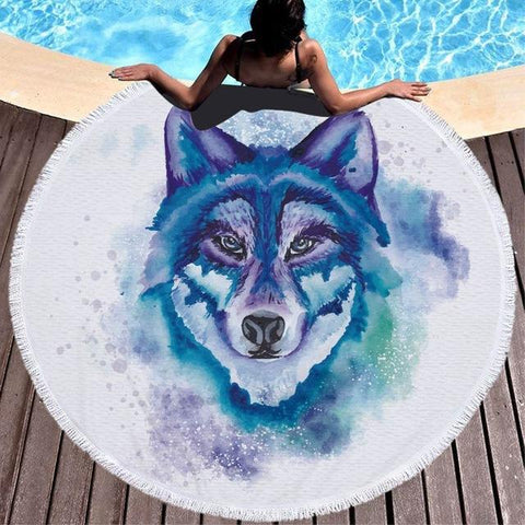 Watercolour Wolf Beach Towel