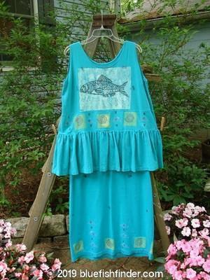 1990 Long Button Tier Dress Fish Green Turq OSFA-Vintage Blue Fish Clothing- Bluefishfinder.com