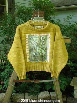 Vintage Blue Fish Clothing 1990 Patched Box Sweater House On The Hill Marigold OSFA- Bluefishfinder.com
