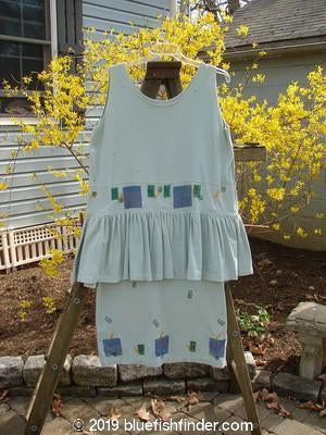 1990 Short Button Tier Dress House on the Hill Sage OSFA-Vintage Blue Fish Clothing- Bluefishfinder.com