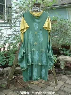 Vintage Blue Fish Clothing 1990 Tunic Dress Pike Pond Marigold Grey Green OSFA- Bluefishfinder.com