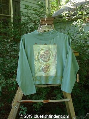Vintage Blue Fish Clothing 1991 Long Sleeved Mock Crop Top Roses Khaki Green Small OSFA- Bluefishfinder.com