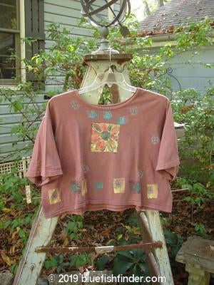 Vintage Blue Fish Clothing 1992 Short Sleeved Crop T Daisy Dusty Pomegranate OSFA- Bluefishfinder.com