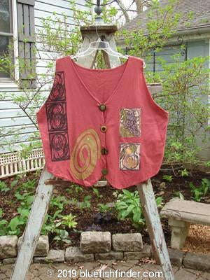 Vintage Blue Fish Clothing 1992 Folk Vest Pomegranate Size 2- Bluefishfinder.com