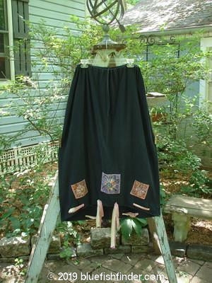 1992 Patched Buttonloop Skirt Daisy Black OSFA-Vintage Blue Fish Clothing- Bluefishfinder.com