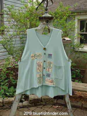 Vintage Blue Fish Clothing 1992 Patched Triangle Cardigan Vest Patched Music Blue Tourmaline OSFA- Bluefishfinder.com