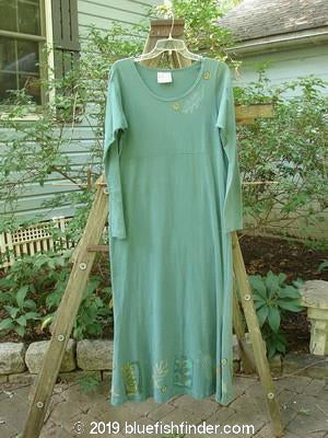 Vintage Blue Fish Clothing 1993 Pedestal Dress Leaves Grey Green Size 1- Bluefishfinder.com
