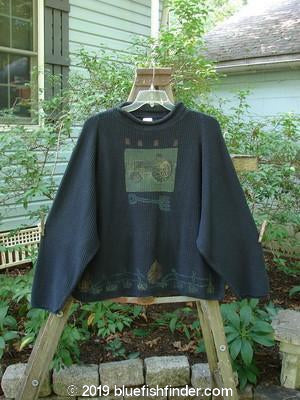 Vintage Blue Fish Clothing 1993 Waffle Crop Rolled Turtleneck Sweater Tractor Black Size 2- Bluefishfinder.com