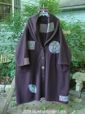 Vintage Blue Fish Clothing 1994 Wool Falling Snow Coat Plum Wine OSFA- Bluefishfinder.com