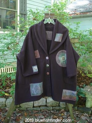 Vintage Blue Fish Clothing 1994 Patched Wool Falling Snow Jacket Coat Geisha Gal Plum Wine OSFA- Bluefishfinder.com