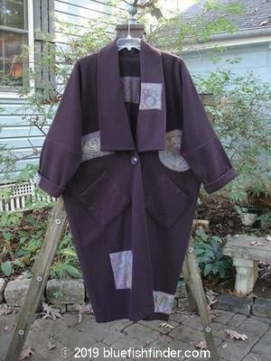 Vintage Blue Fish Clothing 1994 Patched Wool Kabuki Coat Plum Wine OSFA- Bluefishfinder.com
