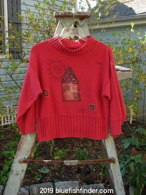Bluefishfinder.com - 1995 KIDS Turtleneck Sweater House and Sun Red Crayon Size 6 to 8